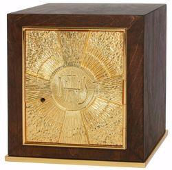 Immagine di Tabernacolo da Mensa medio cm 25x25x28 (9,8x9,8x11,0 inch) Simbolo IHS Raggi di Luce in legno Oro Ciborio da Altare Chiesa