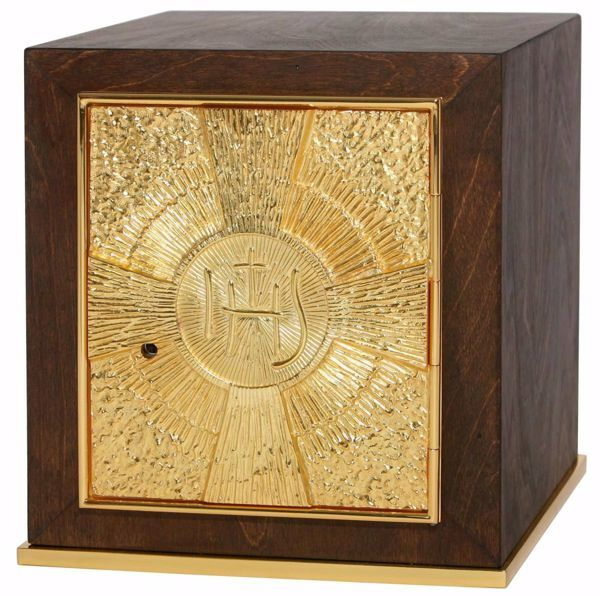 Picture of Medium size Altar Tabernacle cm 25x25x28 (9,8x9,8x11,0 inch) IHS Rays of Light in wood Gold for Church