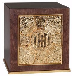 Picture of Medium size Altar Tabernacle with Exposition cm 25x25x28 (9,8x9,8x11,0 inch) Cross IHS Rays of Light in wood Gold for Church