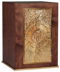 Picture of Large size Altar Tabernacle with Exposition cm 30x30x43 (11,8x11,8x16,9 inch) Cross IHS Rays of Light in wood Gold for Church
