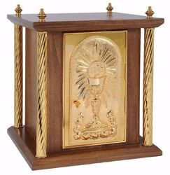 Picture of Altar Tabernacle 4 Columns cm 40x40x50 (15,7x15,7x19,7 inch) Roses Chalice IHS Rays of Light in wood Gold for Church