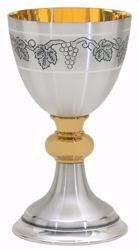 Picture of Liturgical Chalice H. cm 19 (7,5 inch) with Knot Grapes in bicolor chiseled brass Silver for Holy Mass Altar Wine