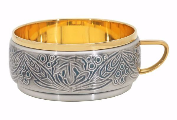 Immagine di IMPILABILE Patena Pisside senza coperchio H. cm 7 (2,8 inch) Uva Spighe stilizzate in ottone Argento