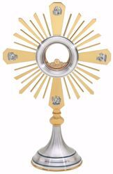 Picture of Small size Church Monstrance with lunette H. cm 47 (18,5 inch) smooth satin finish Evangelists Rays of Light brass Silver for Blessed Sacrament