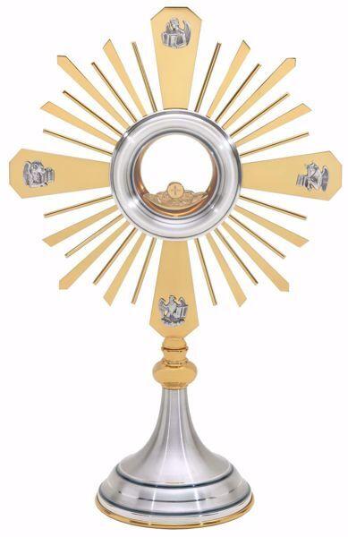Imagen de Custodia litúrgica con luneta H. cm 47 (18,5 inch) acabado liso satinado Cuatro Evangelistas Rayos de Luz latón Plata Santísimo Sacramento