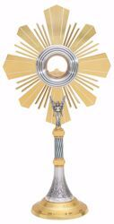 Picture of Large size Church Monstrance with lunette H. cm 71 (28,0 inch) grapes Ears of Wheat Angel Rays brass Silver for Blessed Sacrament