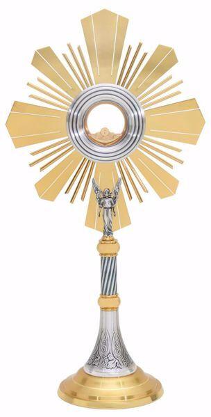 Immagine di Ostensorio grande con lunetta H. cm 71 (28,0 inch) Uva Spighe Angelo Raggiera in ottone Argento per Santissimo Sacramento Chiesa