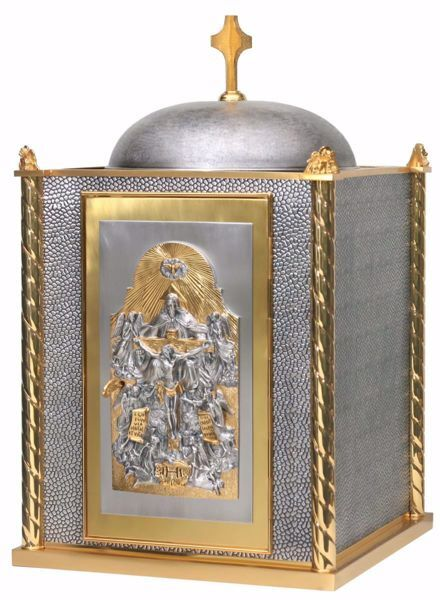 Picture of Altar Tabernacle cm 83x51x51 (32,7x20,1x20,1 inch) Crucifixion Trinity Agnus Dei in brass with bicolor Door internal light Silver for Church