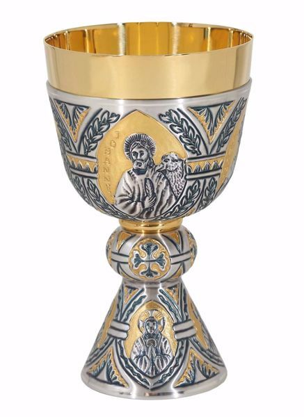Picture of Liturgical Chalice H. cm 19 (7,5 inch) Four Evangelists Sacred Symbols in chiseled brass Silver Bicolor for Holy Mass Altar Wine