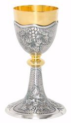 Picture of Liturgical Chalice H. cm 20,5 (8,1 inch) Grapes in chiseled brass Silver Bicolor for Holy Mass Altar Wine