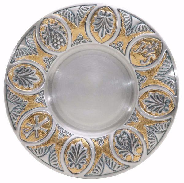 Immagine di Patena eucaristica Diam. cm 18,5 (7,3 inch) Foglie IHS Chrismon in ottone cesellato Argento Bicolor