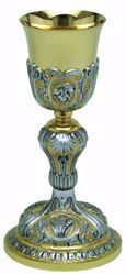 Picture of Liturgical Chalice H. cm 23 (9,1 inch) Shell Ears of Wheat Grape Leaf in brass Bicolor for Holy Mass Altar Wine