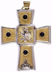 Picture of Episcopal pectoral Cross cm 9x7 (3,5x2,8 inch) Chi Rho symbol Lapis Lazuli in brass Bicolor Bishop's Cross