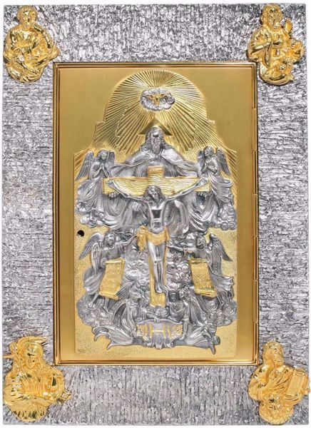 Immagine di Tabernacolo da incasso a muro cm 56x38cm (22.0x15,0 inch) Crocifissione Trinità Quattro Evangelisti in ottone Porta bicolore Ciborio da parete
