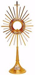 Picture of Church Monstrance with lunette H. cm 57 (22,4 inch) Cross Grapes Chalice Cherubs Red Swarovski Rays brass Bicolor for Blessed Sacrament