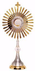 Picture of Church Monstrance with lunette H. cm 68 (26,8 inch) grapes Ears of Wheat Rays in brass Bicolor Ostensorium for Blessed Sacrament