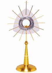 Picture of Church Monstrance with lunette H. cm 66 (26,0 inch) modern style Grapes Ears of Wheat Rays brass Bicolor Ostensorium for Blessed Sacrament