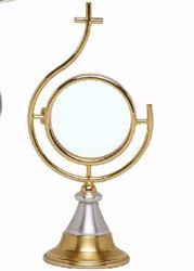 Picture of Eucharistic Shrine Monstrance H. cm 23 (9,1 inch) modern style stylized Christ in brass Bicolor Ostensorium Blessed Sacrament