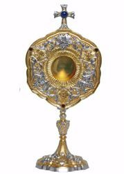 Picture of Liturgical Reliquary H. cm 38 (15,0 inch) Baroque style Grapes Ears of Wheat Cross Lapis Lazuli brass Bicolor custody for Church Sacred Relics