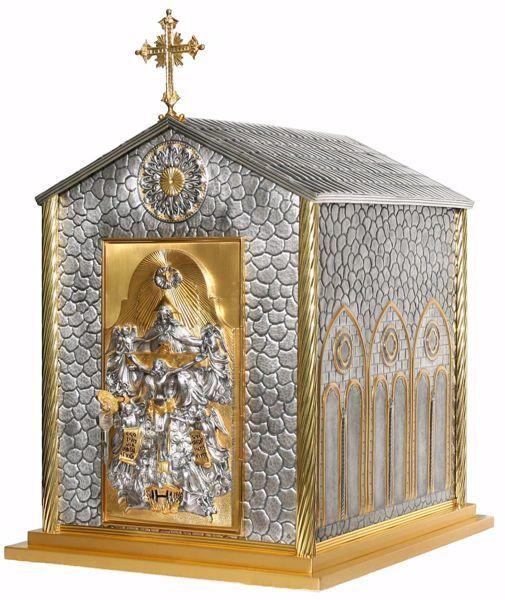 Imagen de Sagrario de mesa cm 62x51x58 (24,4x20,1x22,8 inch) Crucifixión Trinidad Columnas del Templo Cruz latón Iluminación Bicolor Tabernáculo de Altar