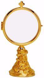 Immagine di Teca Eucaristica Ostensorio Diam. cm 8 (3,1 inch) base decorata in ottone Oro per esposizione Santissimo Sacramento Chiesa