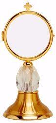 Immagine di Teca Eucaristica Ostensorio Diam. cm 8 (3,1 inch) Nodo diamante in ottone Oro per esposizione Santissimo Sacramento Chiesa