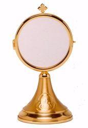 Immagine di Teca Eucaristica Ostensorio Diam. cm 8 (3,1 inch) in ottone Oro per esposizione Santissimo Sacramento Chiesa