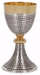 Picture of Liturgical Chalice H. cm 18,5 (7,3 inch) with Knot in hammered brass Gold Silver for Holy Mass Altar Wine