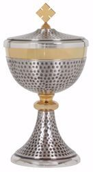 Picture of Liturgical Ciborium H. cm 22,5 (8,9 inch) with Knot in hammered brass Gold Silver