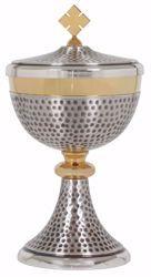 Immagine di Pisside liturgica H. cm 22,5 (8,9 inch) con Nodo in ottone martellato Oro Argento