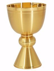 Picture of Liturgical Chalice H. cm 17 (6,7 inch) smooth satin finish with Knot in brass Gold Silver for Holy Mass Altar Wine