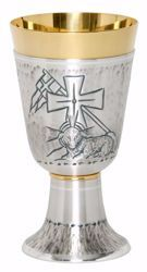 Picture of Liturgical Chalice H. cm 17 (6,7 inch) Agnus Dei in chiseled brass Gold Silver for Holy Mass Altar Wine