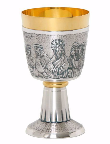 Picture of Liturgical Chalice H. cm 16,5 (6,5 inch) Last Supper in chiseled brass Gold Silver for Holy Mass Altar Wine