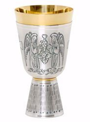 Picture of Liturgical Chalice H. cm 17 (6,7 inch) Angels in Prayer Grapes in chiseled brass Gold Silver for Holy Mass Altar Wine
