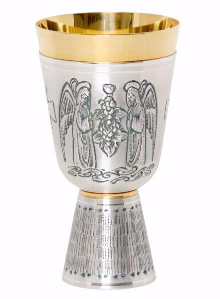 Immagine di Calice liturgico H. cm 17 (6,7 inch) Angeli in preghiera Uva in ottone cesellato Oro Argento da Altare per vino da Messa