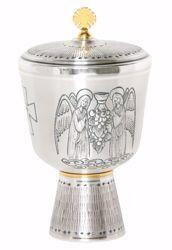 Immagine di Pisside liturgica H. cm 21 (8,3 inch) Angeli in preghiera Uva in ottone cesellato Oro Argento