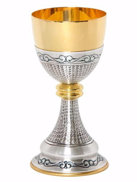 Picture of Liturgical Chalice H. cm 21 (8,3 inch) with Knot in chiseled brass Gold Silver for Holy Mass Altar Wine