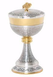 Picture of Liturgical Ciborium H. cm 22,5 (8,9 inch) with Knot in chiseled brass Gold Silver