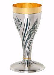 Imagen de Cáliz eucarístico H. cm 20 (7,9 inch) Cruz Espigas de Trigo de latón cincelado Oro Plata para Altar Vino Santa Misa