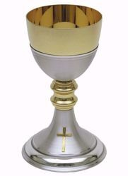 Picture of Liturgical Chalice H. cm 20,5 (8,1 inch) smooth satin finish with double Knot in brass Gold Silver for Holy Mass Altar Wine