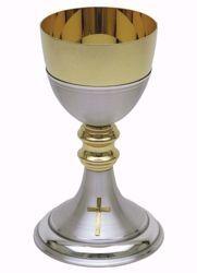 Imagen de Cáliz eucarístico H. cm 20,5 (8,1 inch) acabado liso satinado con doble Nudo de latón Oro Plata para Altar Vino Santa Misa