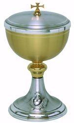 Immagine di Pisside liturgica H. cm 21 (8,3 inch) Pani Pesci in ottone cesellato Oro Argento