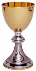 Picture of Liturgical Chalice H. cm 15,5 (6,1 inch) with central Knot in brass Gold Silver for Holy Mass Altar Wine