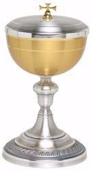Immagine di Pisside liturgica H. cm 22,5 (8,9 inch) base decorata in ottone Oro Argento