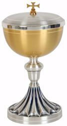 Picture of Liturgical Ciborium H. cm 23 (9,1 inch) with Knot decorated base in brass Gold Silver