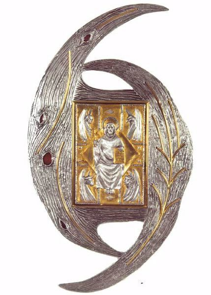 Picture of Wall mounted Tabernacle cm 100x56 (39,4x22,0 inch) Christ Pantocrator Evangelists in brass with bicolor Door Gold Silver for Church