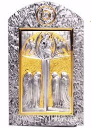 Picture of Wall mounted Tabernacle cm 50x30 (19,7x11,8 inch) Christ Pantocrator in brass with bicolor Door Gold Silver for Church