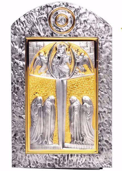 Immagine di Tabernacolo da incasso a muro cm 50x30 (19,7x11,8 inch) Cristo Pantocratore in ottone Porta bicolore Oro Argento Ciborio da parete