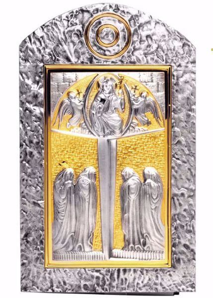 Imagen de Sagrario de pared cm 50x30 (19,7x11,8 inch) Cristo Pantocrátor de latón Puerta bicolor Oro Plata Tabernáculo de pared Iglesia