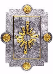 Picture of Wall mounted Tabernacle cm 55x42 (21,7x16,5 inch) Stylized Ray of Light Four Evangelists brass with bicolor Door Gold Silver for Church